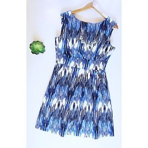Blue & White Calvin Klein Fit & Flare Dress Size 8